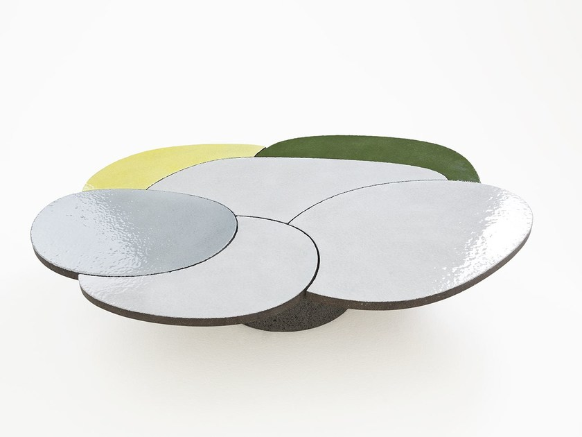 Lava stone coffee table for living room COFFEE TABLE YELLOW & GREEN by Made a Mano