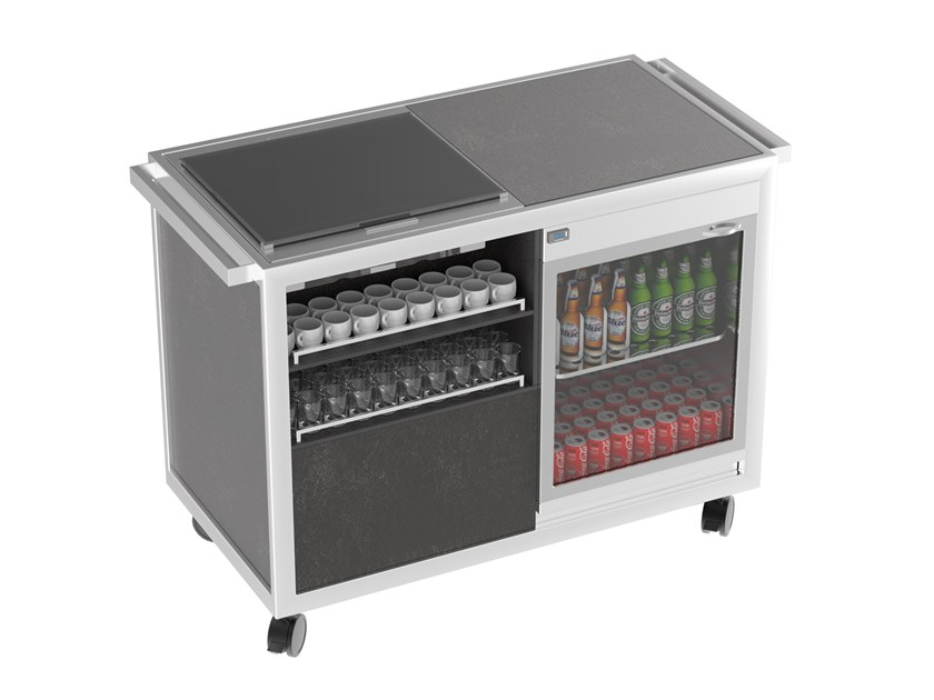 Beverage Serving trolley with cooling top with warming top Coffee&Tea break cart by La tavola