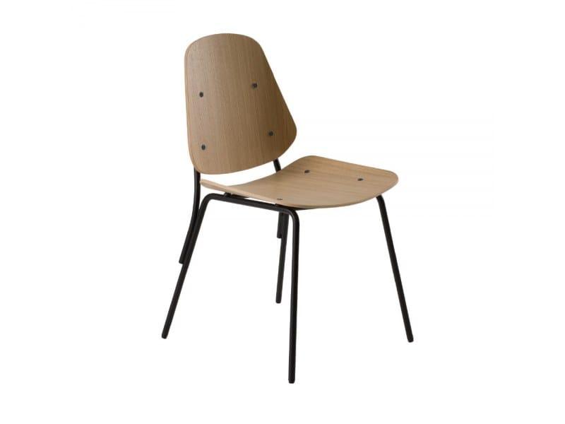 Cadeira em aço e madeira COL 370M by Capdell