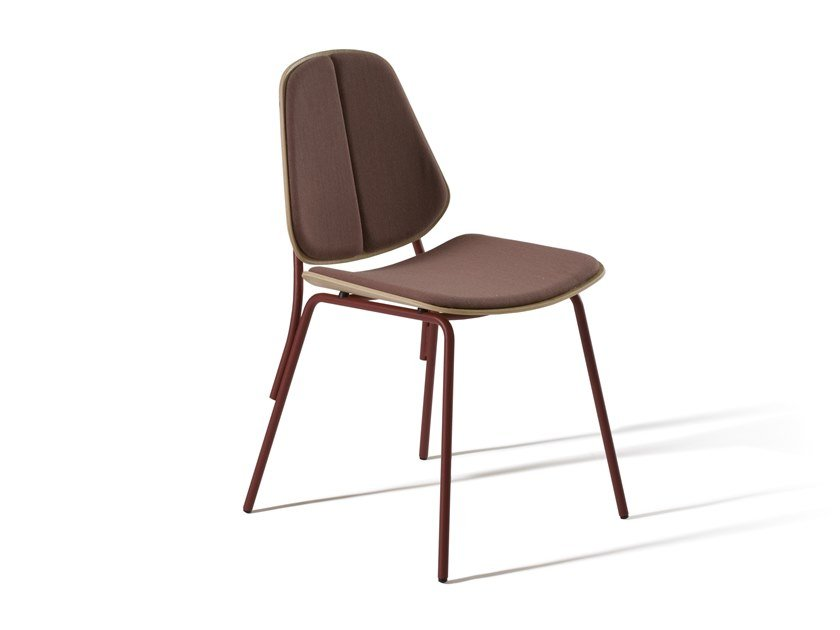 Steel and wood chair with integrated cushion COL 370P by Capdell