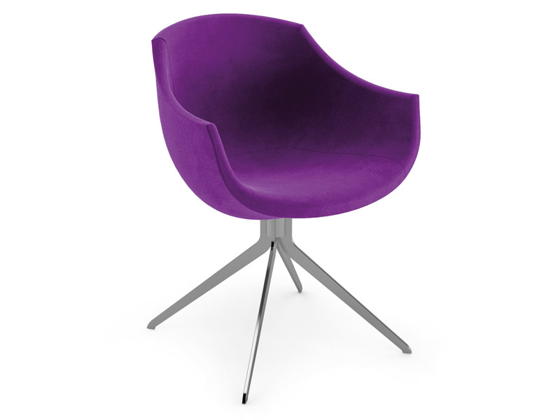 Trestle-based fabric easy chair with armrests COLIMBAS by Cizeta L'Abbate