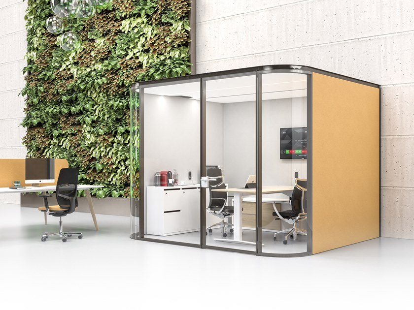 Acoustic wall-mounted fabric office booth COLLABORATIVE ROOM W by ESTEL GROUP