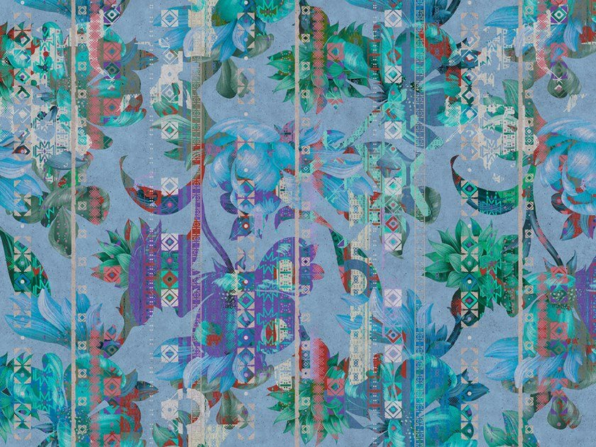 Digital printing wallpaper with floral pattern COLLAGE by Architects Paper