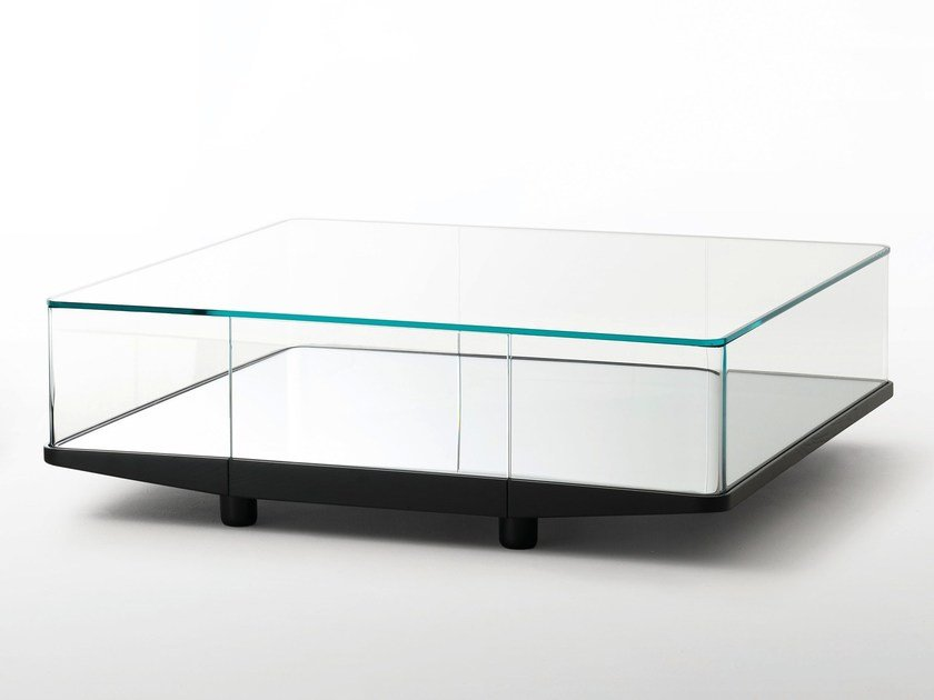 Square Crystal Coffee Table With Storage Space Collector By Glas Italia