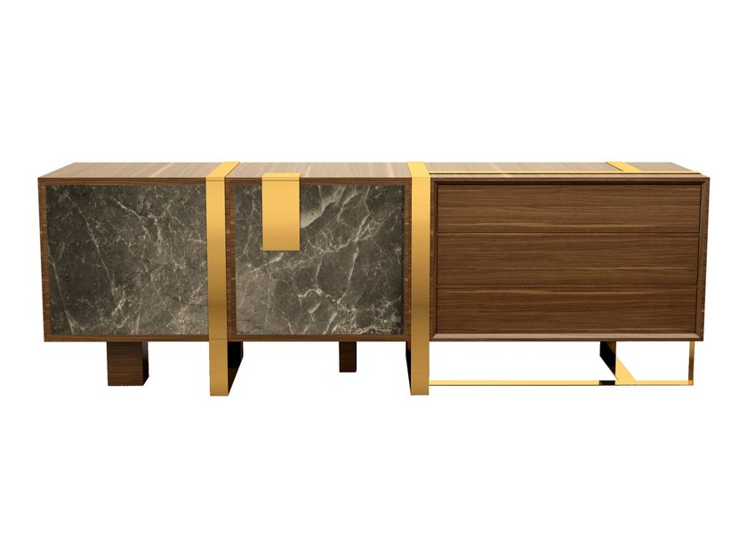 Wooden sideboard with doors COLOMA by Porustudio