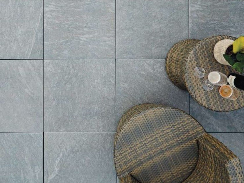 Outdoor floor tiles with stone effect COLOSSEO SILVERGRAU by GRANULATI ZANDOBBIO
