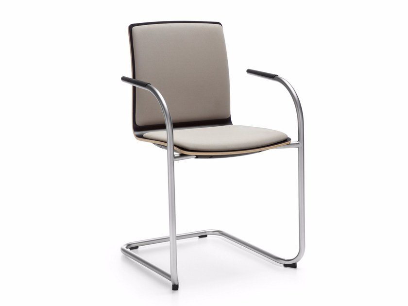 Cantilever fabric chair with armrests with integrated cushion COM K32V1 by profim