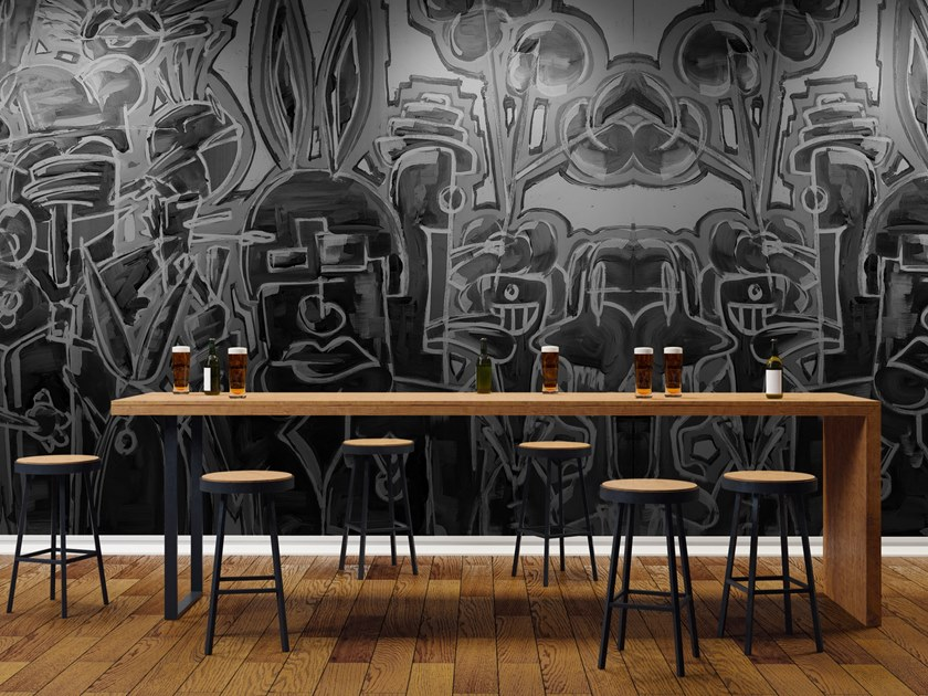Pop art vinyl wallpaper COMMUTERS by Baboon