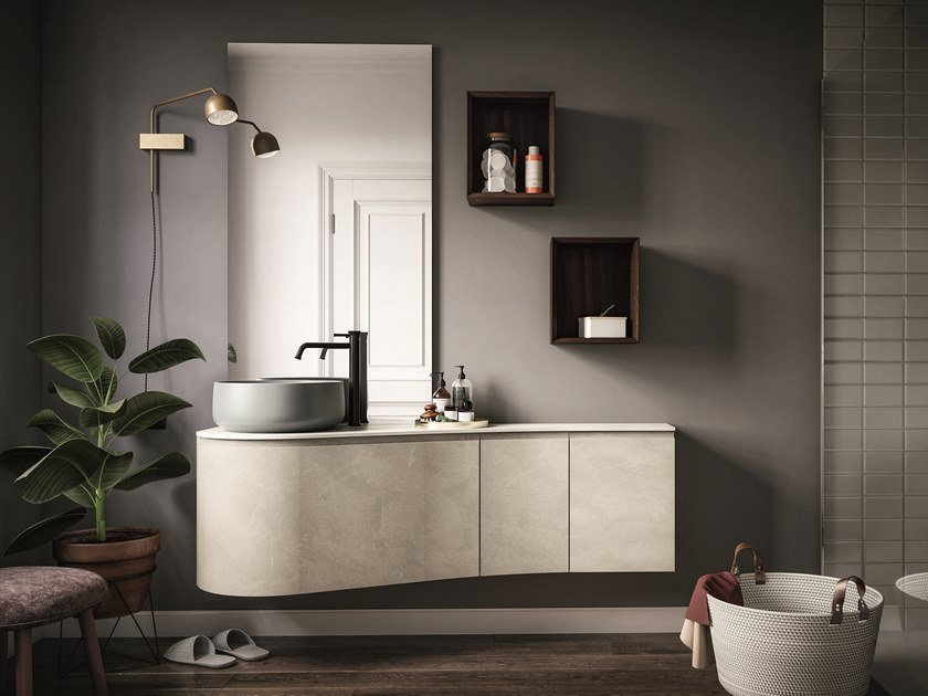 Lacquered wall-mounted vanity unit VERSA COMP. 2 by Birex