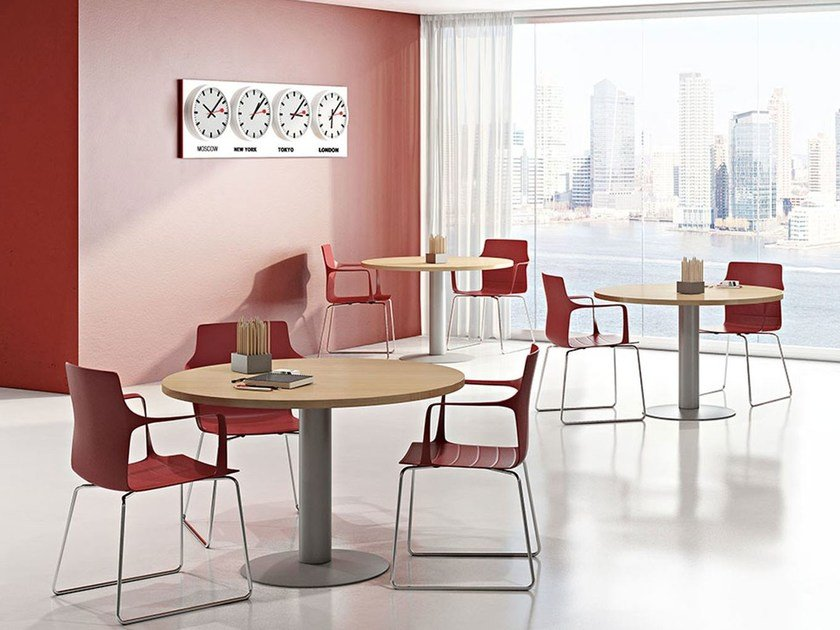 Round melamine-faced chipboard contract table COMPACT C11S/Z/C by Arcadia