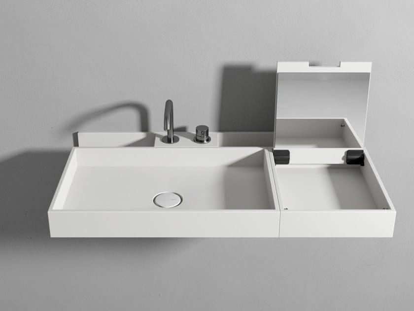 Lavabo in Corian in appoggio LAVABO CON ORGANIZER E CONSOLLE TRUCCO by Rexa Design
