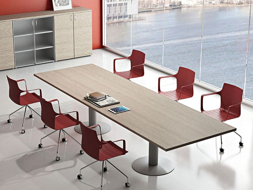 Rectangular melamine-faced chipboard meeting table COMPACT | Meeting table by Arcadia