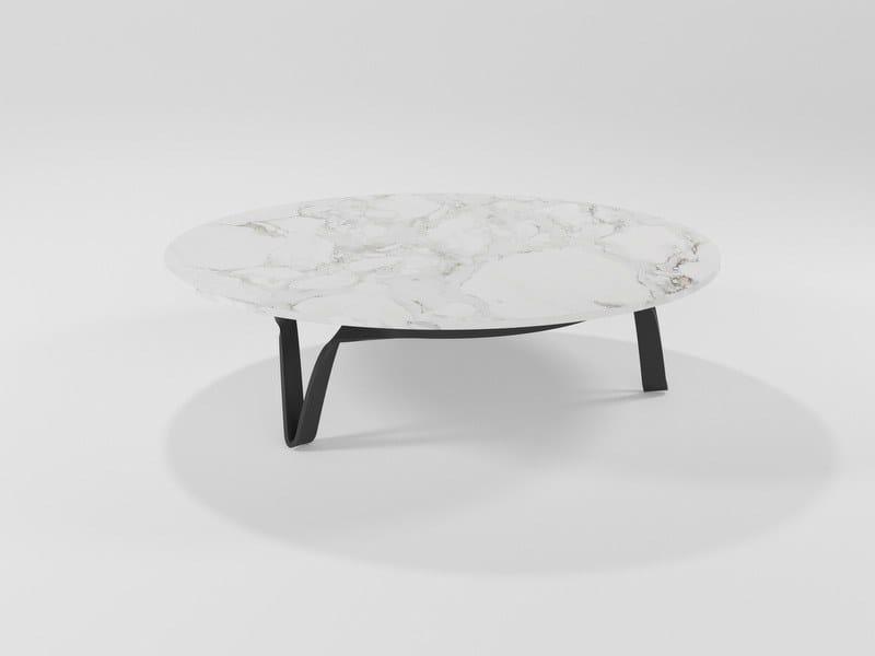 Tavolino in marmo e lama di ferro COMPASSO | Tavolino in marmo by Barel