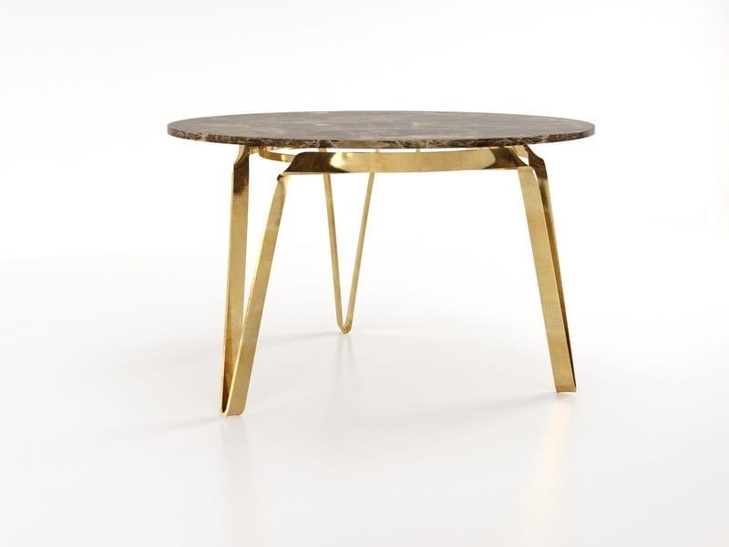 Tavolo in marmo e lama di ferro COMPASSO   Tavolo in marmo by Barel