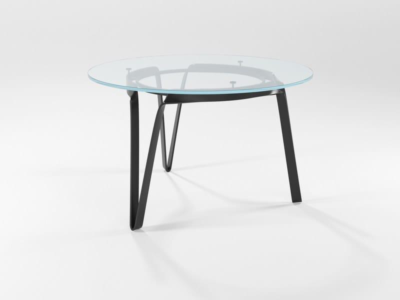 Tavoli In Cristallo E Ferro.Compasso Tavolo Rotondo Collezione Lama By Barel Design Elio Garis