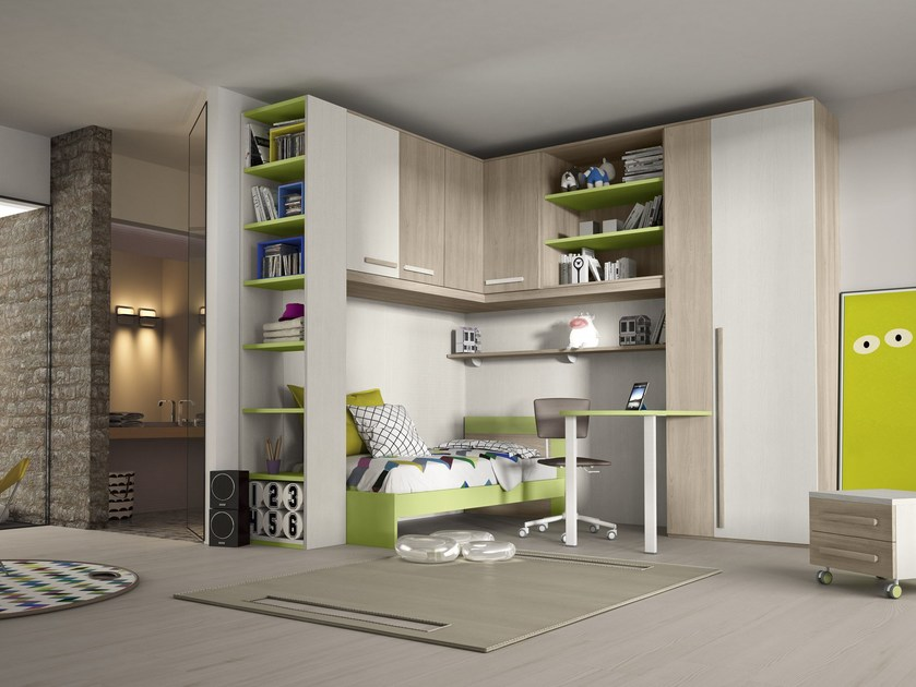 Bedroom set with bridge wardrobe COMPOSITION 15 by Mottes Mobili