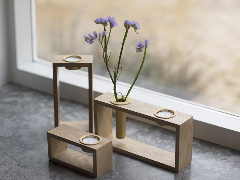 Steel and wood candle holder COMPOSE by VITA copenhagen