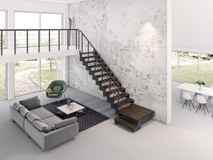 L Shaped Steel And Wood Open Staircase COMPOSITY   L Shaped Open Staircase  By RINTAL