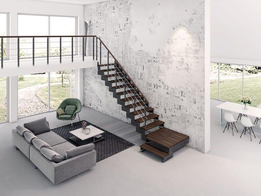 Escalera abierta en forma de L en acero y madera COMPOSITY ...