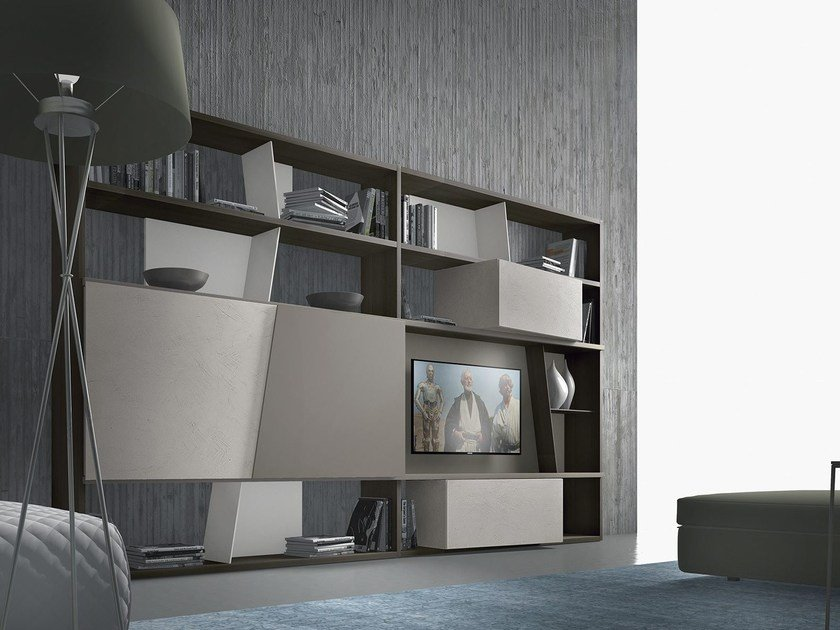 Sectional lacquered wooden storage wall CrossART - 504 By Presotto ...