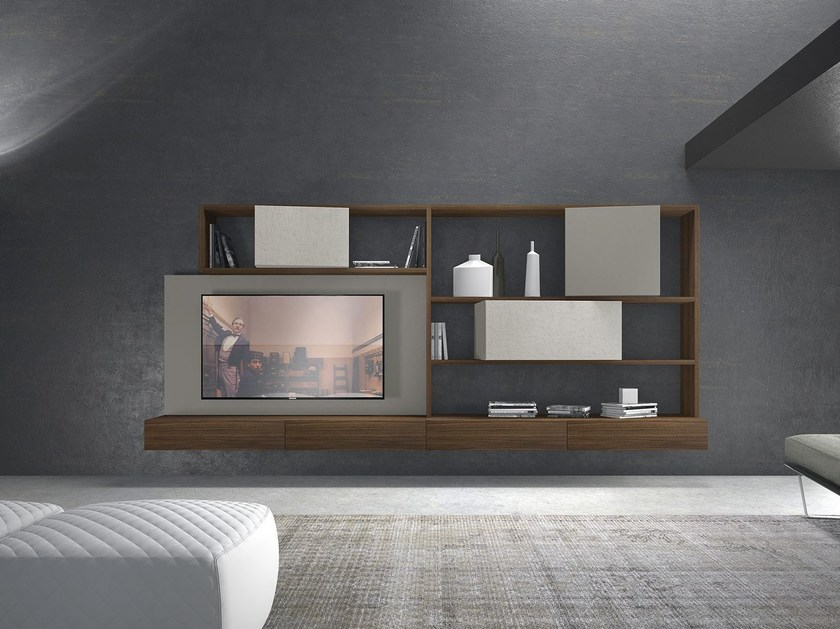 Sectional wall-mounted wooden storage wall CrossART - 506 by Presotto