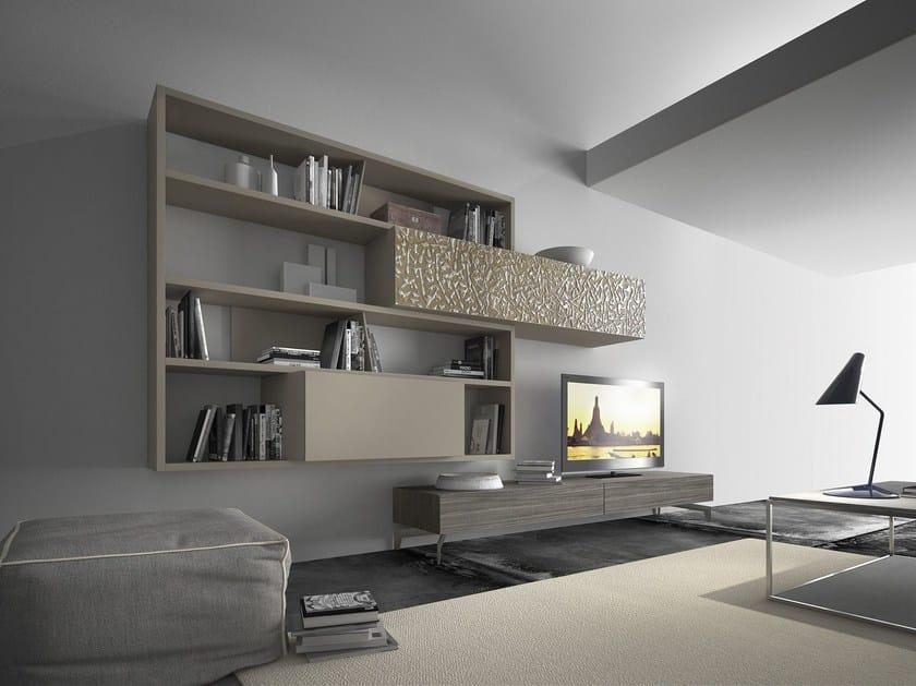 Anbau- wandmontierte TV- Wohnwand aus Holz CrossART - 508 By ...