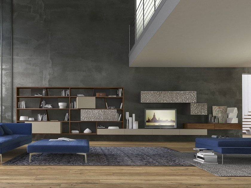 Sectional wall-mounted wooden storage wall CrossART - 528 by Presotto