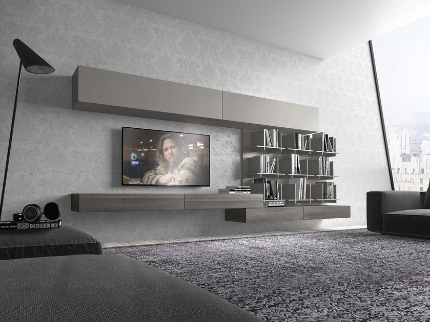 Sectional wall-mounted wooden storage wall I-modulART_20 - 322 by Presotto
