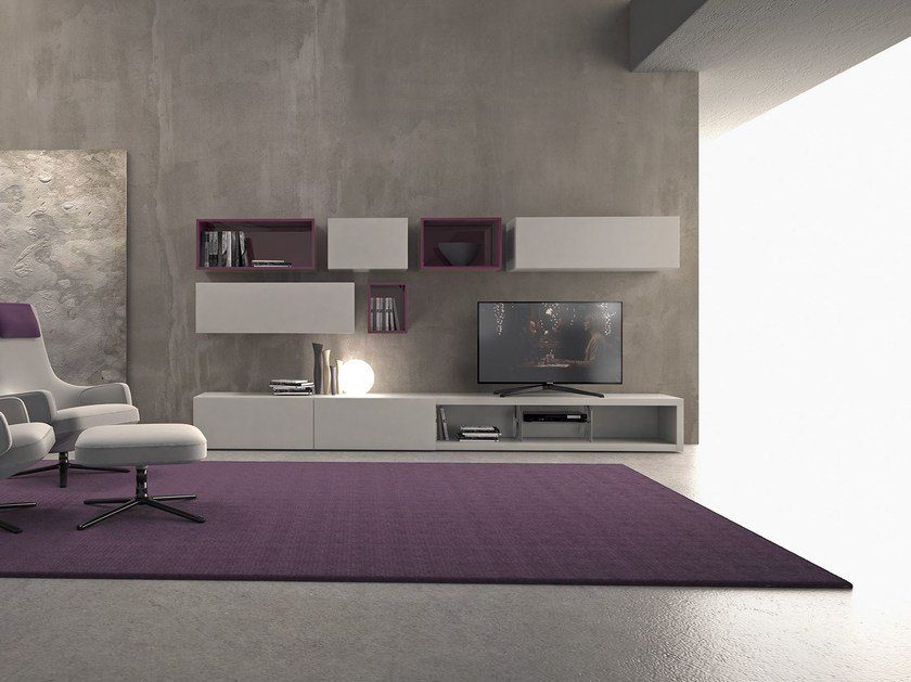 Sectional lacquered wooden storage wall I-modulART_20 - 327 by Presotto