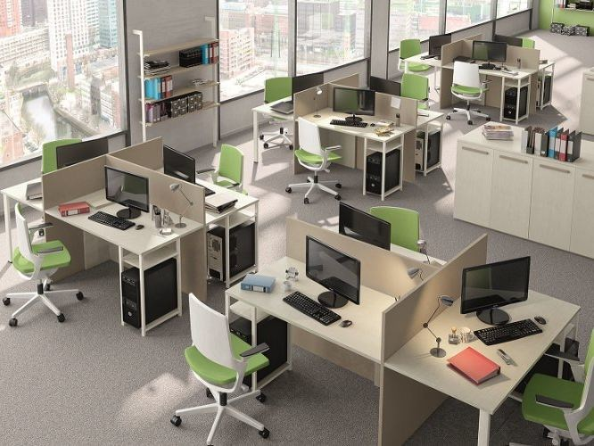 Multiple office workstation COMPOSITION 54 by Mottes Mobili