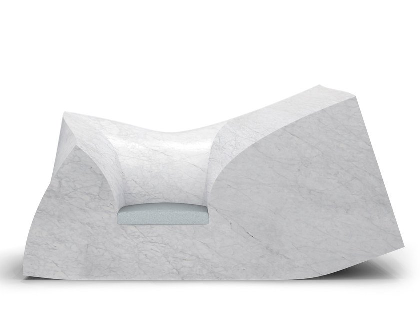 Carrara marble armchair with armrests COMPRESSION by moooi