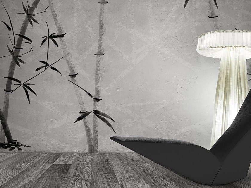 Washable panoramic glass-fibre wallpaper CONCRETE BAMBOO by N.O.W. Edizioni