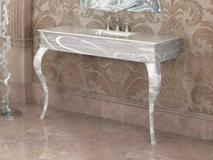 Glass and aluminium console sink VERSAILLES | Console sink by LINEAG