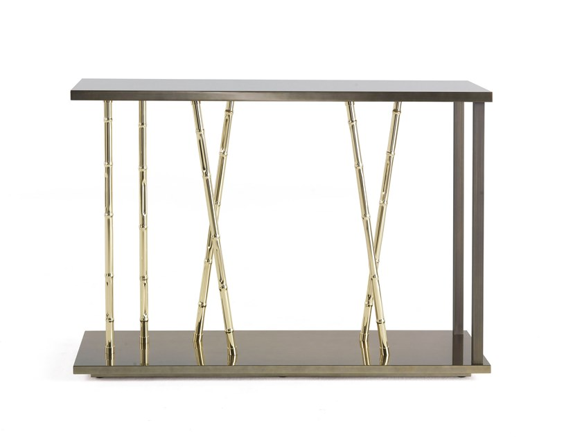 Rectangular eucalyptus and metal console table TAXILA | Console table by ETRO Home Interiors