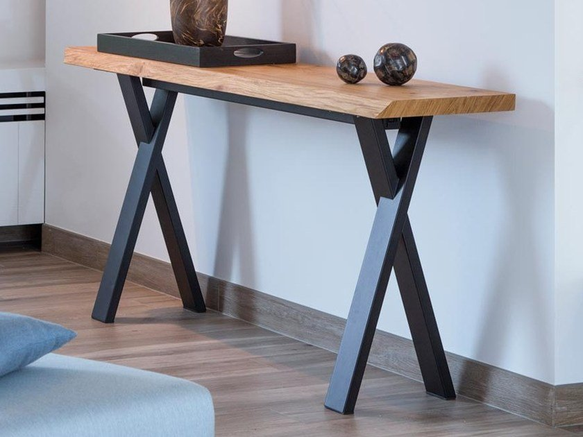Rectangular wood veneer console table FOREST OAK | Console table by Joli