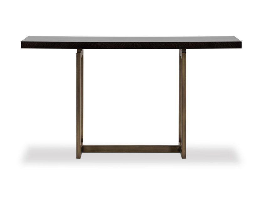 Lacquered rectangular brass and wooden console table FORTUNE | Console table by Stylish Club