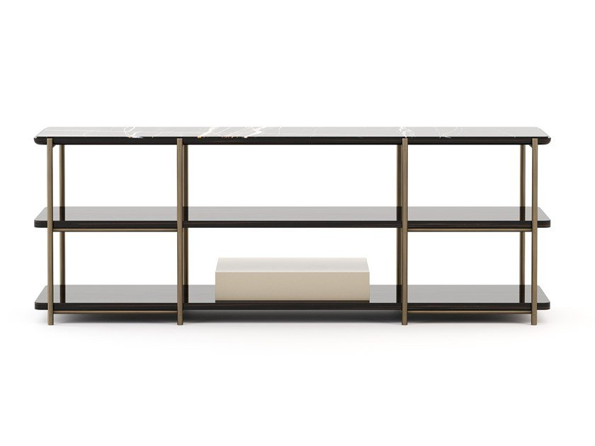 Rectangular bronze and marble console table with shelving HER | Console table by Stylish Club