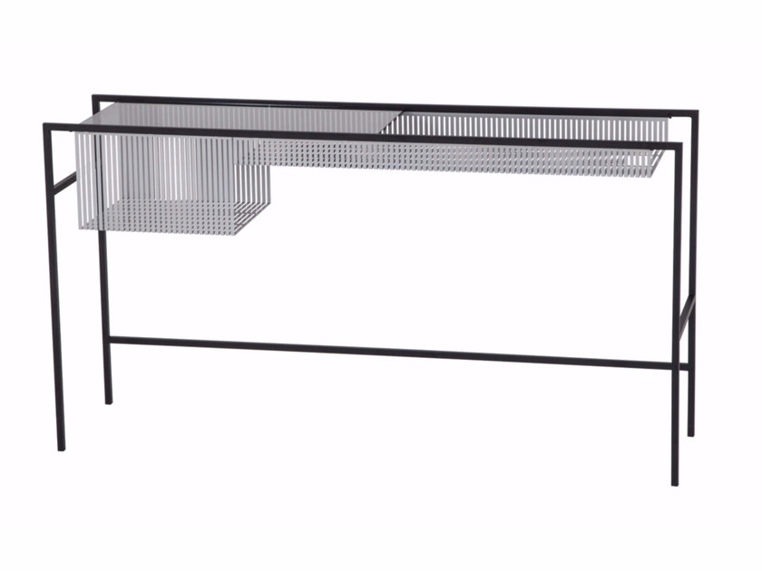 Rectangular glass and steel console table AGRAFE | Console table by ROCHE BOBOIS