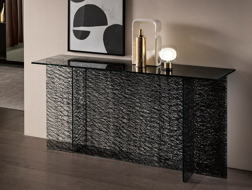Rectangular glass console table SESTANTE | Console table by Tonelli Design