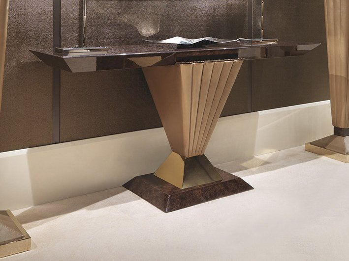 Lacquered rectangular wooden console table ORION | Console table by Turri