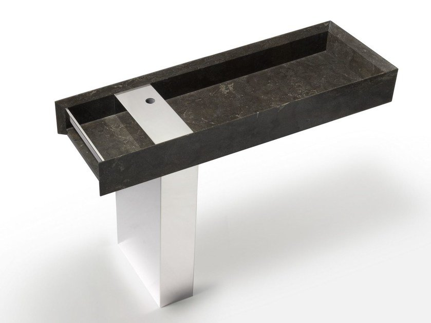 Rectangular marble washbasin ONSEN | Pedestal basin by SALVATORI