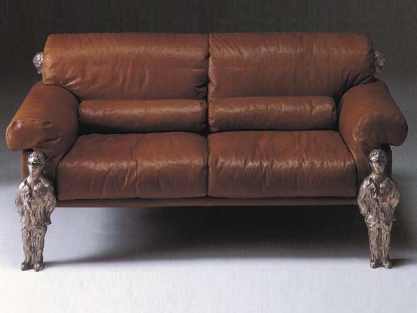 2 seater leather sofa CONSUETUDINE | Leather sofa by Mirabili