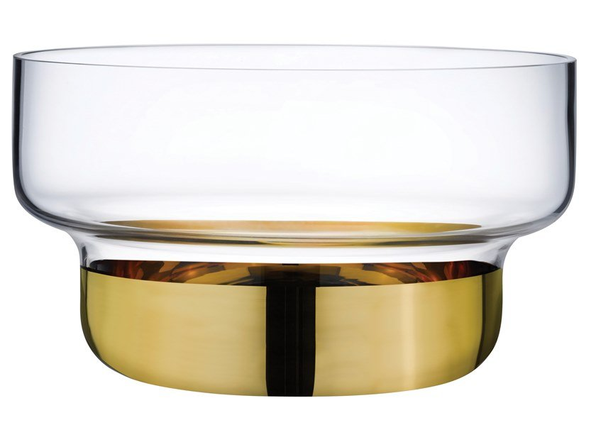 Small Bowl with Clear Top and Golden Base CONTOUR SMALL by NUDE