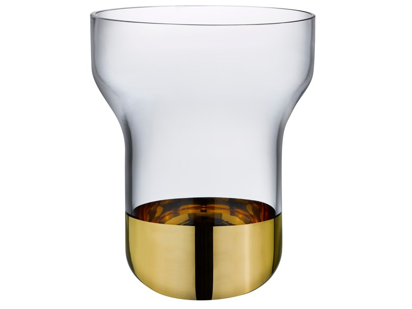 Wide Vase with Clear Top and Golden Base CONTOUR WIDE | Vase by NUDE