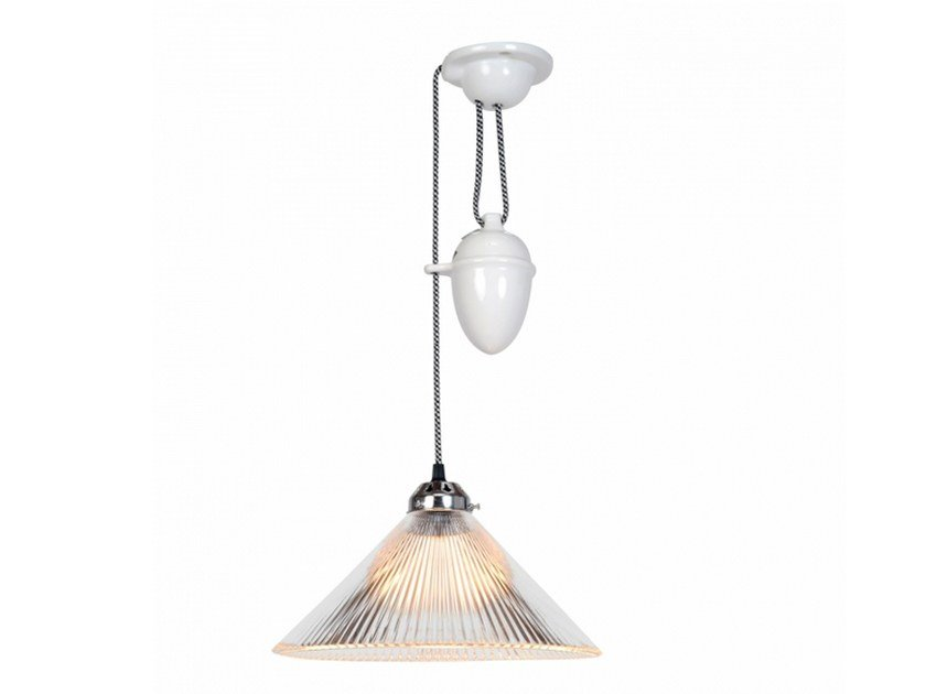Adjustable glass pendant lamp with dimmer COOLIE PRISMATIC RISE & FALL by Original BTC