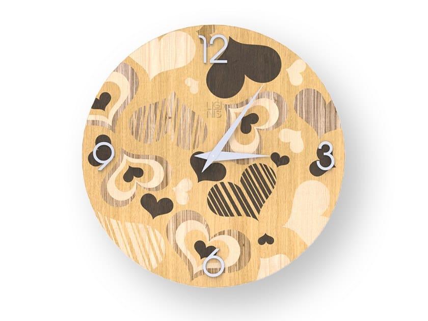 Orologio da parete in legno intarsiato CORAZÒN WARM | Orologio by LIGNIS®