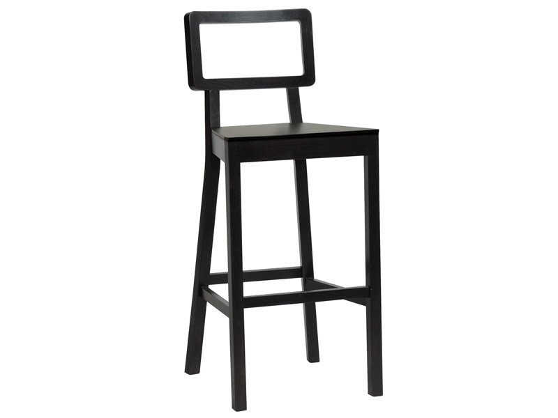 Wooden stool with back CORDOBA | Wooden stool by TON