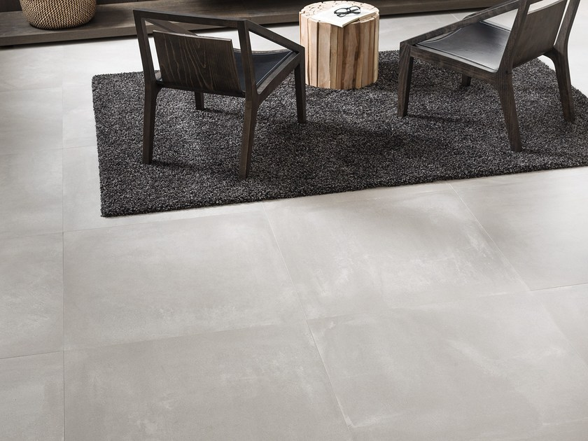 Porcelain Stoneware Wall Floor Tiles With Concrete Effect Core White By Urbatek
