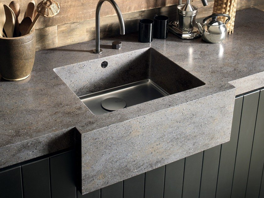 Single flush-mounted Corian® sink CORIAN® KITCHEN SINK ...
