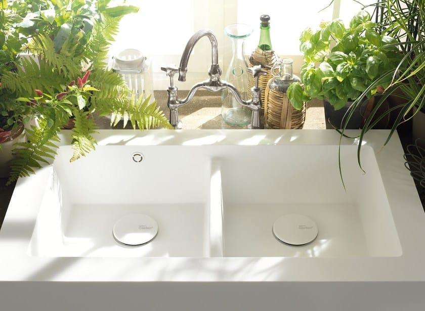 Lavello A 2 Vasche In Corian Corian Kitchen Sink Salty Corian Design
